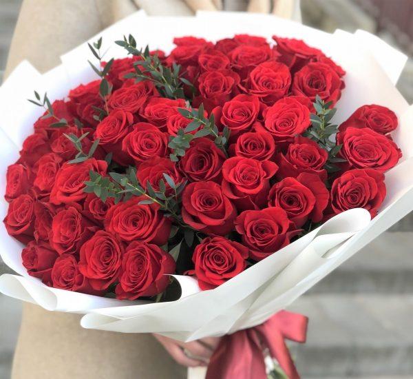 Букет 51 роза Красная