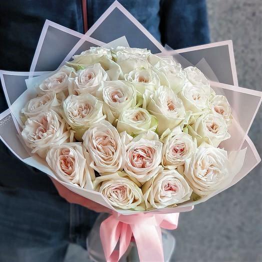Роза Новосибирск 25 шт. White Ohara