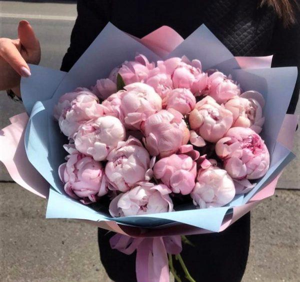 15 пионов розовых заказать