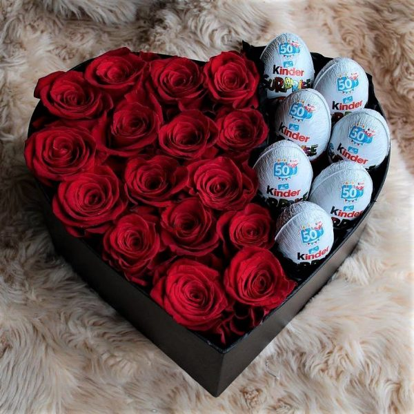 Сердце с цветами и киндерами