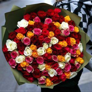 101 роза микс 40см заказ