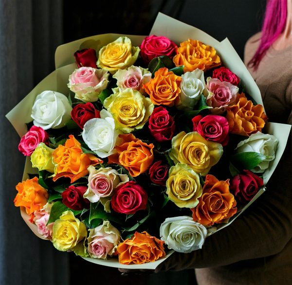 35 роз микс 40 см недерогие